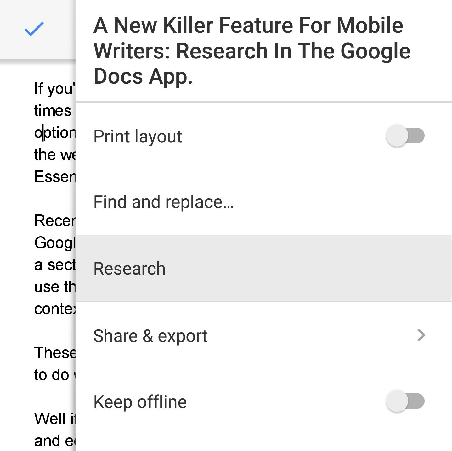 Research In Google Docs App